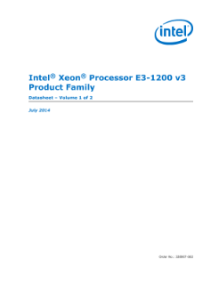 Intel® Xeon® Processor E3-1200 v3 Family: Datasheet, Vol. 1