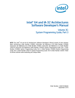 Intel® 64 and IA-32 Architectures Software Developer's Manual, Volume 3C: System Programming Guide, Part 3