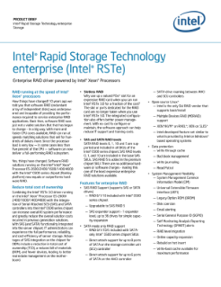 PRODUCT BRIEF  Intel® Rapid Storage Technology enterprise  Storage