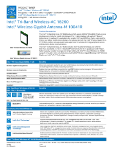 Intel® Tri-Band Wireless-AC 18260: Product Brief