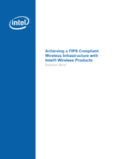 Achieving a FIPS Compliant Wireless Infrastructure with Intel(R) Wireless Products