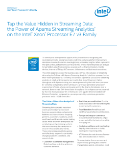 Apama Streaming Analytics* with the Intel® Xeon® Processor E7 v3