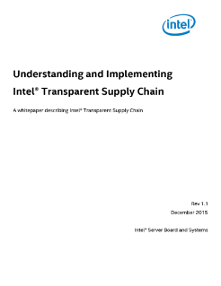 Understanding and Implementing Intel Transparent Supply Chain